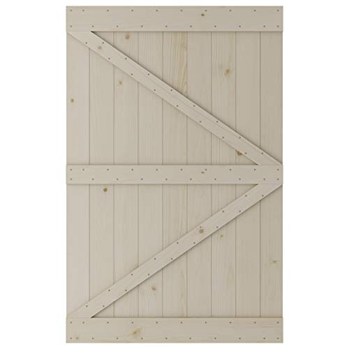 SmartStandard 54in x 84in Sliding Barn Wood Door Pre-Drilled Ready to Assemble, DIY Unfinished Solid Spruce Wood…