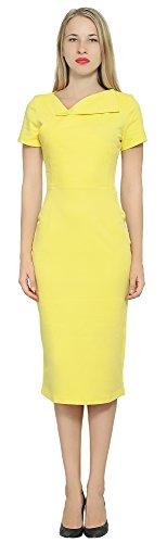Business Sleeve Dress Marycrafts Pencil Midi Short Office Women's Yellow UqxEwpERI