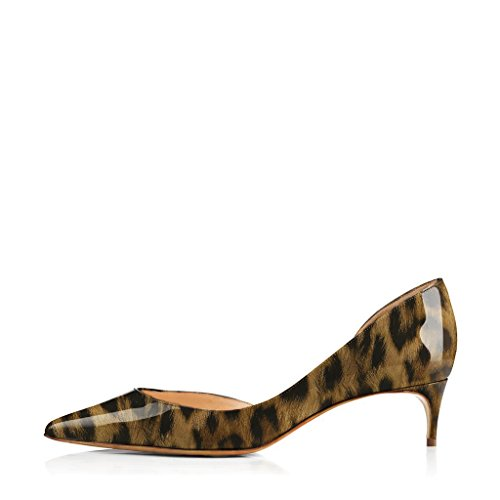 Pumps Patent D'orsay Women Size Pointed Leopard Toe 4 Dress Shoes 5CM Printing 15 FSJ Leather 4 US B5qp0nw0