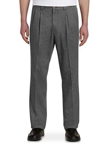 Harbor Bay by DXL Big and Tall Waist-Relaxer Pleated Twill (Cotton Pleated Twill Pants Charcoal)