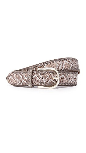 B. Belt Women's Border Stud Metallic Python Print Belt, Brown/Silver (Python Print Belt)