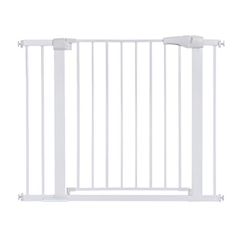 "40.5″ Auto Close Safety Gate, KingSo Baby Gate Extra Wide 29.5″-40.5"" Walk Thru for House Stairs Doorways Hallways Include 2.75"" & 5.5"" Extension Kits, 4 Pressure Bolts, 4 Wall Cups, 1 Key(White)"