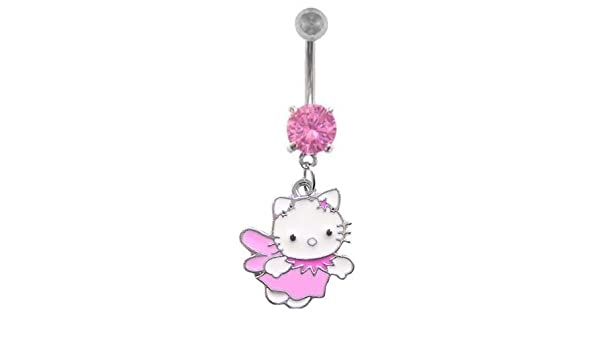 Amazon Com Pink Hello Kitty Flying Angel Dangle Belly Button Navel