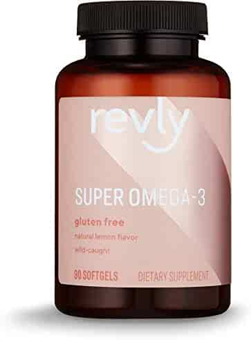Amazon Brand - Revly Super Omega-3 with Natural Lemon Flavor, 1280 mg Wild-Caught Fish Oil per Serving (2 Softgels), 90 Softgels