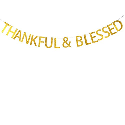 Thankful & Blessed Gold Banner Happy Thanksgiving Day Party Decoration Banner btsond -