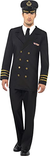 [Smiffy's Navy Officer Male, Black, Large] (Womens Army Costumes Australia)