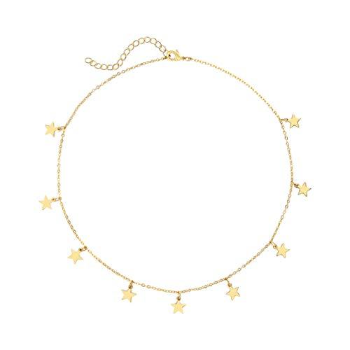 SEAYII Women Star Choker Necklace Gold Dangle Drop 14K Gold Fill Lucky Trendy Dainty Chian Short Boho Beach Simple Delicate Handmade Gold Jewelry Gift ()