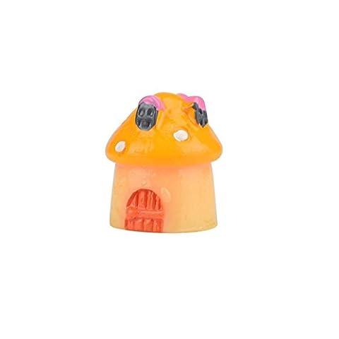 Owill 2 Pieces Mushroom Miniature Garden Ornament Fairy Dollhouse Decor (A, Yellow) (Tale Light Tint)