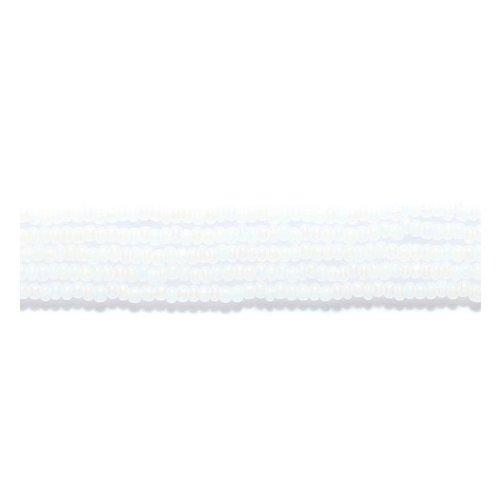 - Preciosa Ornela Czech Seed Bead, True Cut Pearl White Aurora Borealis Finish, Size 11/0
