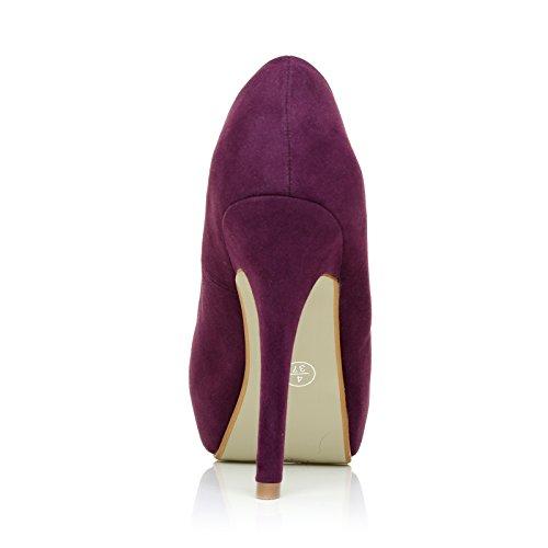 ShuWish UK - Kunst Wildleder Stilett Hohe Absätze Versteckte Plattform Pumps Schuhe H251 Violettes Wildleder