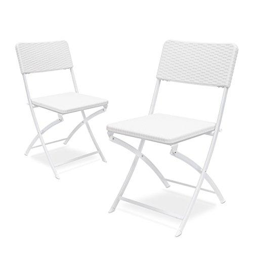 Relaxdays 2 10020055_419-Sillas Plegables de jardin, Blanco, 50x44x82 cm