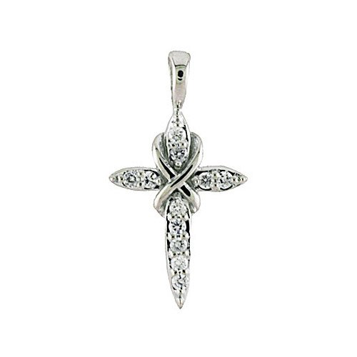 0.11 Carat (ctw) 14k White Gold Round Diamond Women's Small Petite Cross Pendant with 18