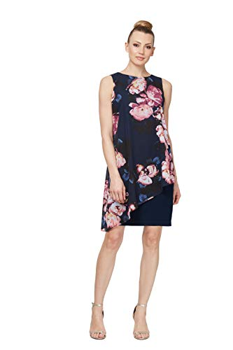 S.L. Fashions Women's Sleeveless Printed Asymmetric Chiffon Overlay Dress, NAVYMULTI, 12