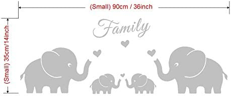 AIYANG Four Elephants Family Wall Decal Love Hearts Family Words Baby Twins Vinyl Wall Decal Sticker for Baby Nursery Room Decor Small 36x14, Grey
