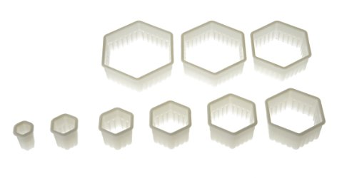 Silikomart Wonder Cakes Collection Hexagon Nesting Fluted Nylon Dough Cutters, Set of 9