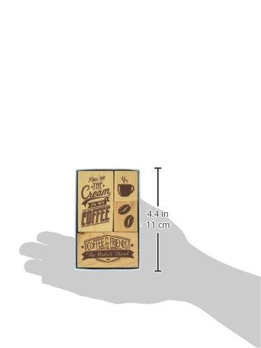 4 pc Inkadinkado Coffee Mounted Rubber Stamp Set