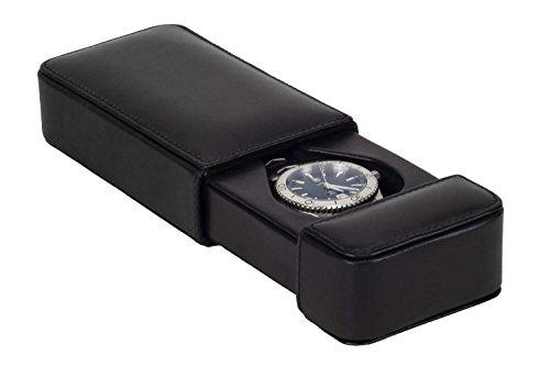 DiLoro Luxury Travel Watch Box Storage Case in Black Italian Leather Holds One Mens Wrist Watch