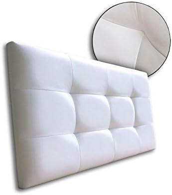Ventadecolchones - Cabecero de Cama Tapizado Acolchado de Dormitorio en Polipiel con capitoné Modelo Tablet Blanco y Medidas 121 x 70 cm para Camas de ...