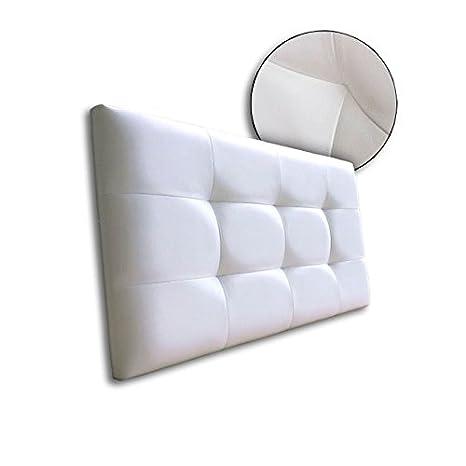 Ventadecolchones - Cabecero de Cama Tapizado Acolchado de Dormitorio en Polipiel con capitoné Modelo Tablet Blanco y Medidas 91 x 70 cm para Camas de ...