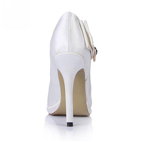 Women's Wedding Shoes Pumps High Sole 4U 9CM Best Heels Rubber Silk Faux toe Rhinestone Peep Sandals White Summer SqIHg5x