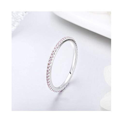 VOROCO Simple Heart Rings 925 Sterling Silver White Gold Plated CZ Ring Simulated Diamond Stackable Ring Eternity Bands for Women (Pink cz Eternity Ring, 7)