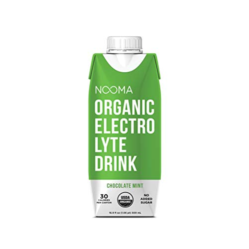 NOOMA Organic Electrolyte Sports Drink | Naturally Hydrating, Coconut Water Base | Certified Keto, Vegan, Gluten Free and More | No Added Sugar, 30 Calories | Chocolate Mint 16oz (Pack of 12)
