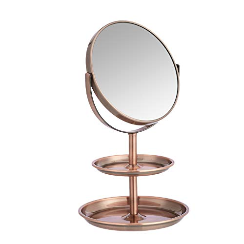 AmazonBasics Vanity Mirror with Dual Trays - 1X/5X Magnification, -