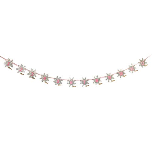 Cieovo Monthly Milestone Photo Banner- DIY Snowflake Glitter for Newborn to 12 Months. Great for 1 Year Old Celebration, 1-12 Month Photograph Garland, Baby Shower Gift