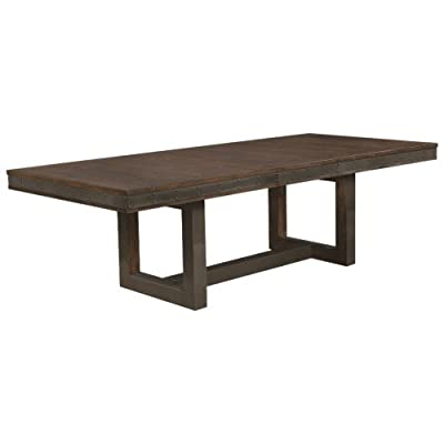 Atwater Dining Table with Leaf Vintage Bourbon - Set includes: One (1) dining table Materials: Acacia and MDF Finish Color: Vintage bourbon - kitchen-dining-room-furniture, kitchen-dining-room, kitchen-dining-room-tables - 319xuQ7VXjL. SS400  -