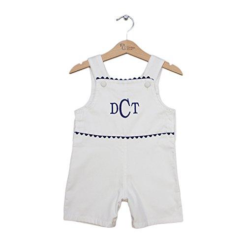 Princess Linens Infant Toddler Baby Pique Shortall - White/Navy 6-12