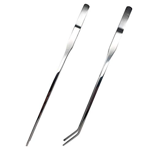 Reptile Feeding Tongs Stainless Steel Straight and Curved Tweezers Polished Long Handle Feeder Tools for Lizard Gecko Snake Spider Bird and Fish Aquariums,Sliver