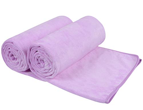 SUNLAND Microfiber Bath Towels for Boby Bath Towel Extra Large 2 Pack 31.5inch x 59inch,Soft,Super Absorbent Multipurpose Use for Sports,Travel,Beach,Camping,Fitness, Yoga Light Purple (Light Towels Purple)
