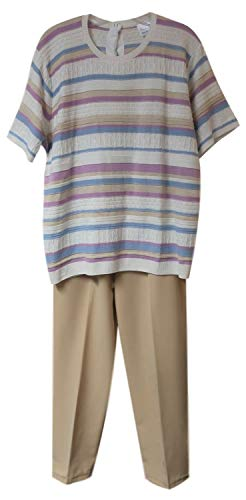 Adaptive Back-Snap Knit Pants Set with Elastic Waist Pants (Pastel Stripe Knit Top with Beige Pants, L)