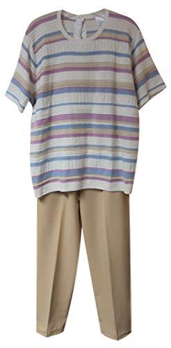 Snap Beige Stripes (Adaptive Back-Snap Knit Pants Set with Elastic Waist Pants (Pastel Stripe Knit Top with Beige Pants, L))