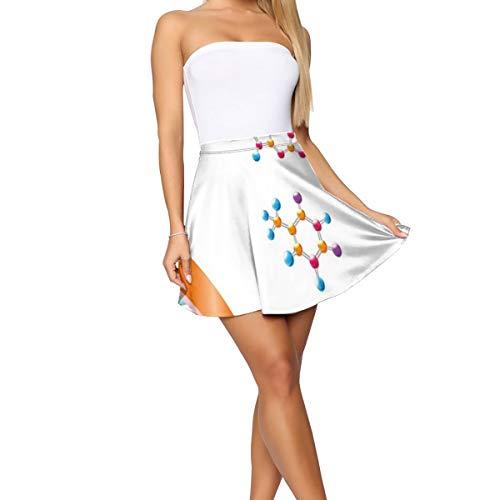 Women's Short Skirt,DNA Bases Chemistry Biochemistry Biotechnology Science Spiral Symbol Genetic M