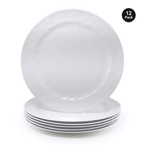 - Melamine Salad Plates - 12pcs 8inch 100% Melamine Plates/Picnic Plates/Kids Plates for Everyday Use, White|Break-resistant and Lightweight,BPA Free
