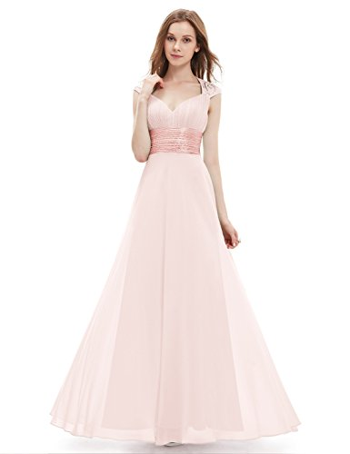 Ever-Pretty Womens V Neck Ruched Bust Long Evening Dress 4 US Pink