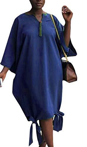 Allentato Marino Abiti Donne Fit Cromoncent Casuale Manica 4 V Comfort 3 Blu Elegante Delle Con Scollo A BFO0xqwf