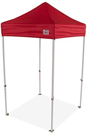 Impact Canopy 5 x 5 Pop-Up Canopy Tent, Lightweight Powder-Coated Steel Frame, Straight Leg, Red