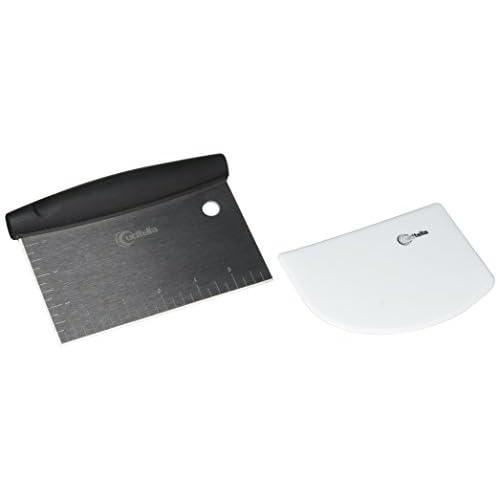 Cucitella Dough & Bowl Scraper Bundle, Stainless Steel Pastry Cutter & Flexible Plastic Bowl Scraper, Nontoxic, Dishwasher Safe