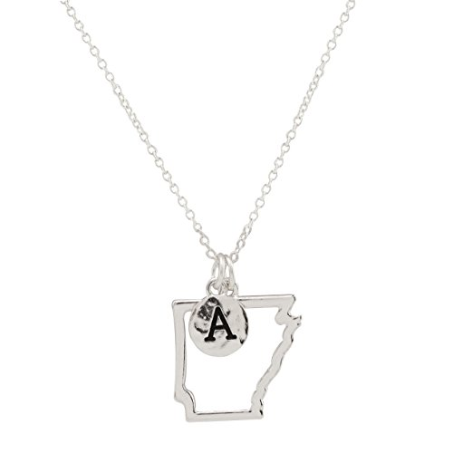 (Elosee State Map Cutout Necklace 18 Inch (Arkansas-Silver))