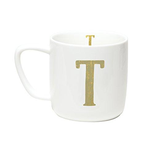 C.R. Gibson 12 ounce Porecelain Monogram Mug, Exterior & Interior Accented With Metallic Gold - T Monogram Travel Mugs