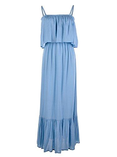 (Anna-Kaci Womens Adjustable Strap Chambray Ruffle Sleeveless Maxi Dress,Blue,Small)