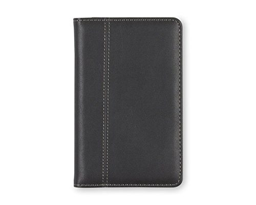 Blue Sky Business Card File Holder, 72 Card Capacity, Black Leather-Like Textured Cover