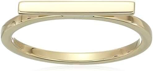 14k Yellow Gold Flat Bar Ring, Size 7