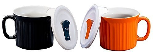 Corningware Pop-Ins 20-Ounce Mug with Vented Plastic Cover (black and Orange Color), Pack of 2