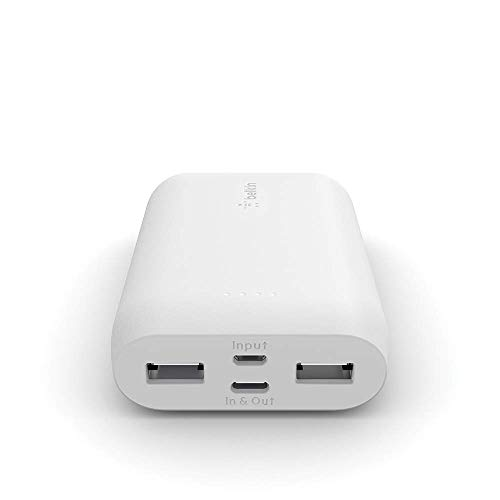 Belkin Portable Power Bank Charger 10K (Portable Charger Battery Pack w/USB-C + Dual USB Ports, 10000mAh Capacity) for iPhone, AirPods, iPad and More, White (F8J267btWHT)