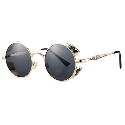 Pro Acme Retro Polarized Round Sunglasses Unisex Metal Frame Steampunk Glasses (Gold Frame/Black - Eye Glass Latest Frames