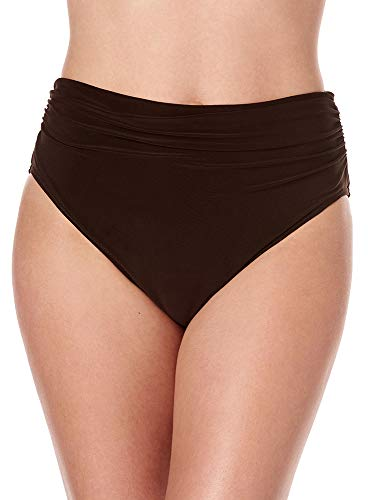 (Magicsuit Women's Swimwear Fabric Shirring Jersey Brief Swim Bottom with Full Coverage and No-Show Waistline, Brown,)