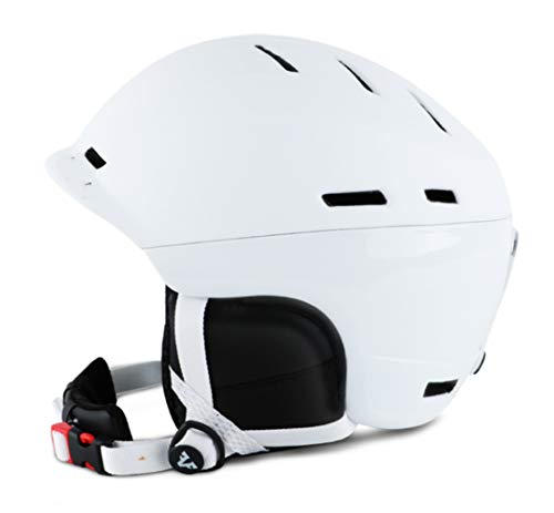SCJ Adult Outdoor Warm ski Helmet, Thickened Plus Velvet, Adjustable Size, Compatible with Goggles,White,XL]()